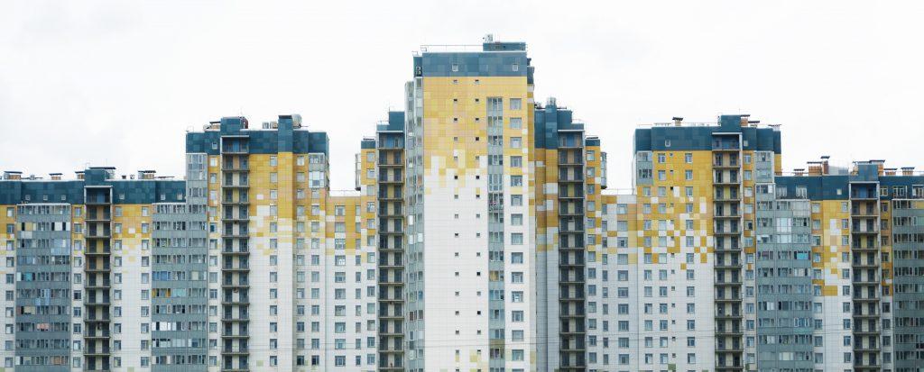 Modern apartment buildings in St. Petersburg, Russia.